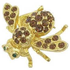 Bumble Bee Crystal Rhinestone Joan Rivers Designer Pin Brooch