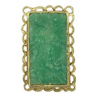 Hobe Green Carved Faux Jade Peking Glass Pin Pendant