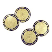Art Deco 10K Gold Cufflinks with Cobalt Blue Enamel by Ostby & Barton