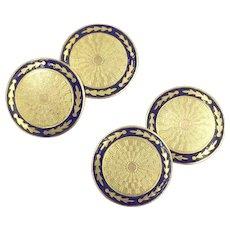 Art Deco 10K Gold Cufflinks with Cobalt Blue Enamel by Ostby & Barton