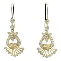 Diamond 14 K Yellow Gold Flower Fan Earrings