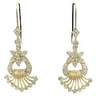 Diamond 14 K Yellow Gold Flower Fan Earrings