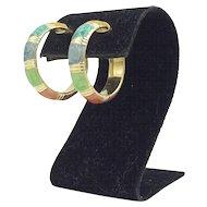 14 K Multi Color Enamel Hoop Earrings