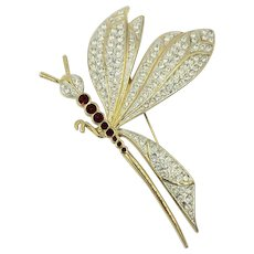 Dragonfly Ciro Rhinestone Wings Flying Bug Insect Brooch