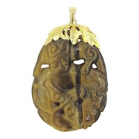 Tigers Eye 14K Hand Carved Gold Pendant