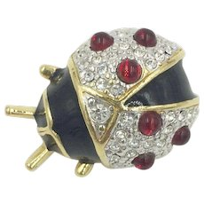 Ladybug Swarovski Crystal Enamel Red Jelly Belly Cabochon Joan Rivers Pin