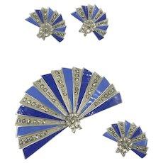 Enamel Marcasite Sterling Fan Blue Pin Earring Set