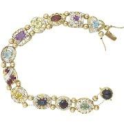 Slide Bracelet Multi Colored Gemstones 10K White & Yellow Gold