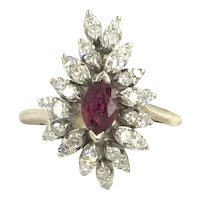 14K Diamond Ruby White Gold Vintage Waterfall Cluster Ring