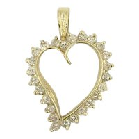14K Genuine Diamond Heart Gold Vintage Pendant