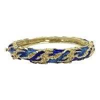 14K Gold & Cobalt Blue Enamel Intricate Bangle Bracelet