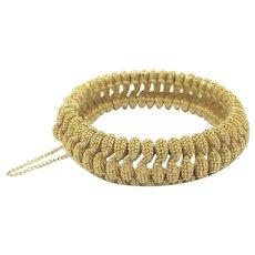 Panetta Gold Tone Vintage Textured Rope Link Bracelet