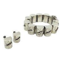 Sterling Barrel Bracelet Earring 1940's Set Mexico Silver