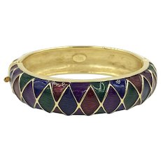 Enamel Bangle Bracelet Gold Tone Designer Joan Rivers Bracelet