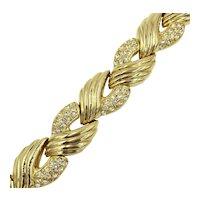 Gold Tone Rhinestone Link Bracelet by Designer Nolan Miller