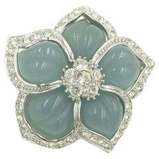 Blue Flower Pendant with Crystal Rhinestones Nolan Miller