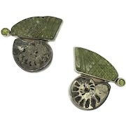 The Dreamer Peridot Sterling Earrings Ammonite Fossil Shell Green Nautilus Clips