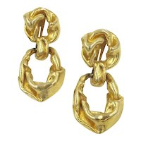 KJL Earrings Large Runway Gold-tone Chunky Kenneth Lane Clip Earrings