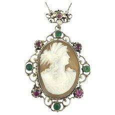 Austro Hungarian Cameo Gemstone 835 Silver Necklace