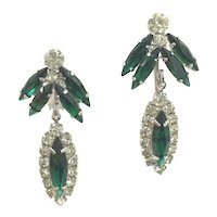 Weiss Emerald Green Rhinestone Silver-tone Clip Earrings