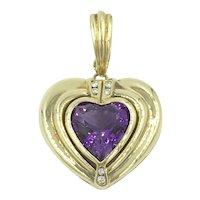 Denoir 14K Amethyst Heart Diamond Pendant Enhancer Signed Designer
