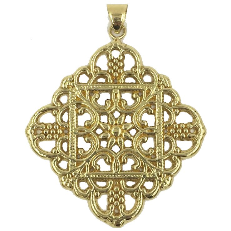 14k italian gold pendant ornate intricate filigree scalloped design 14k italian gold pendant ornate intricate filigree scalloped design aloadofball Image collections