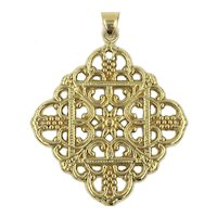 14K Italian Gold Pendant Ornate Intricate Filigree Scalloped Design