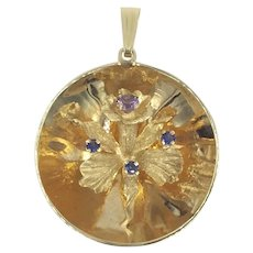 14K Orchid Sapphire Amethyst Yellow Gold Charm Pendant