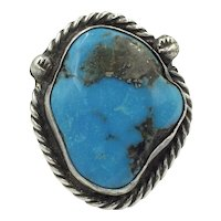 Huge Morenci Turquoise Native American Silver Navajo Handmade Ring