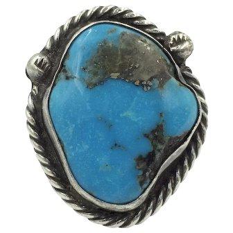 Huge Morenci Turquoise Native American Silver Navajo Handmade Ring