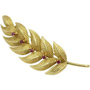 Tiffany & Co. 18K Ruby Leaf Pin Precious Gemstone Gold Brooch