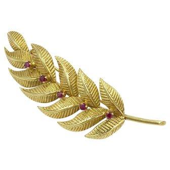 Tiffany & Co. 18K Ruby Leaf Pin Precious Gemstone Gold Brooch
