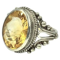 Citrine Sterling Silver Huge Cocktail Ring with Genuine Yellow Gemstone