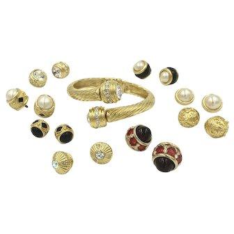 Joan Rivers Interchangeable Enamel Rhinestone Hinged Bangle Designer Bracelet