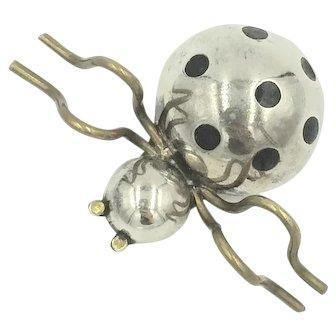 Sterling Silver Spider Brooch Pin Polka Dot Enamel Brass