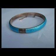 Sterling Silver Blue Enamel Vintage Bangle Bracelet