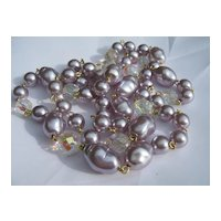 Jolie by House of Nikolas, Designer Faux Lavender Pearl & Aurora Borealis Necklace