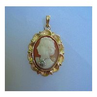 Lovely 14K Gold, Cameo & Diamond Pendant