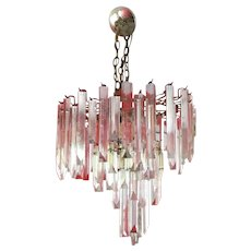 Vintage Lucite Three-Tier Chandelier, Triedre Style Hanging Lucite Crystals