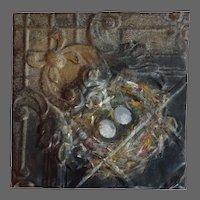 Original oil Painting on Antique Tin  The bird nest