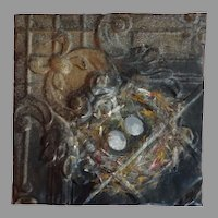 Original oil Painting on Antique Tin  The bird nest
