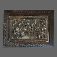 Antique 1800s Silver Highly decorated religious icon plaque the last supper