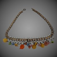 Vintage glass fruit 1930s book link chain Necklace