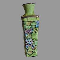 Vintage Enamel over copper miniature Vase signed