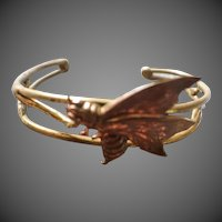 Vintage Brass and Copper Hand Wrought MOTH Bracelet