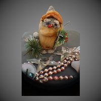 Vintage Christmas paper mache Elf Nome and mercury Glass beads with Bells