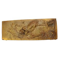 Art nouveau early cherub and Stork Plaque Gold Finish