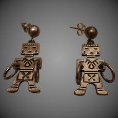Vintage Sterling Silver Hopi Kachina Native American  Indian earrings