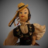 Vintage Felt Cloth Doll, Roldan Spain Spanish Klumpe Dancer