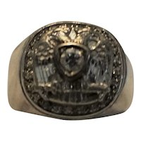 Mens Antique Sterling Silver And 14k Gold Double eagle Diamond Ring